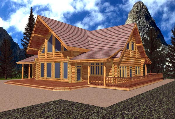 Contemporary Log House Plan 87011 Elevation