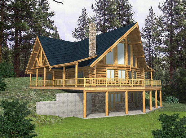 Contemporary Log House Plan 87012 Elevation