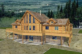Contemporary Log House Plan 87013 Elevation