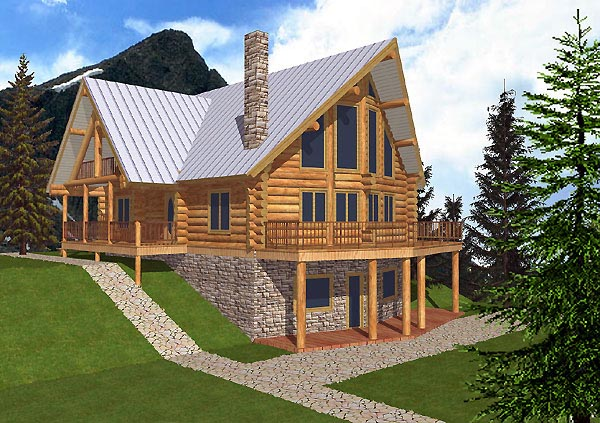 Log House Plan 87014 Elevation