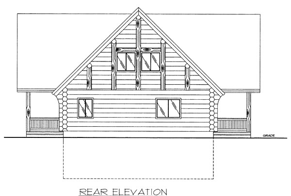 Log House Plan 87014 Rear Elevation