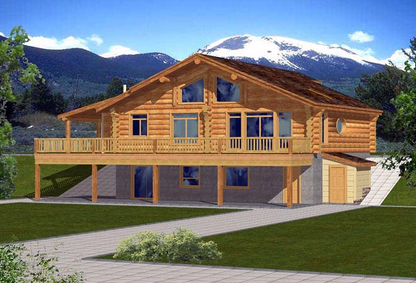 Contemporary Log House Plan 87015 Elevation