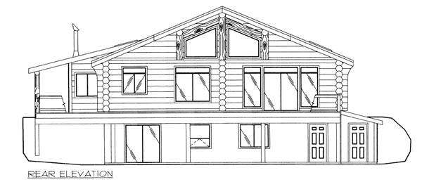 Contemporary Log House Plan 87015 Rear Elevation