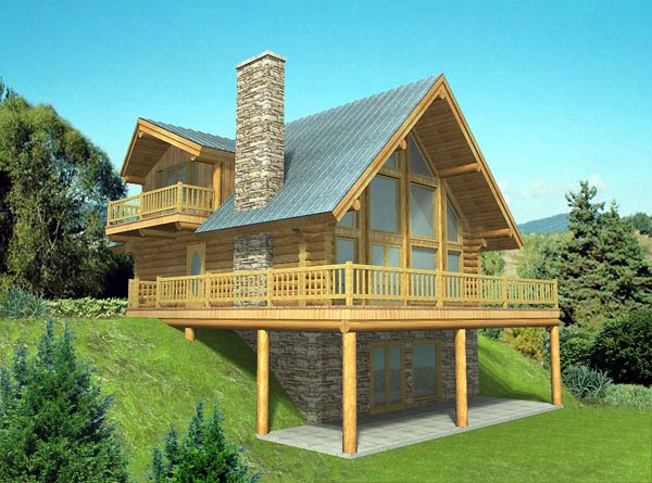 Contemporary Log House Plan 87016 Elevation