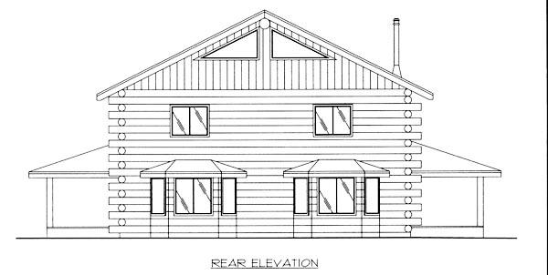 Log House Plan 87017 Rear Elevation