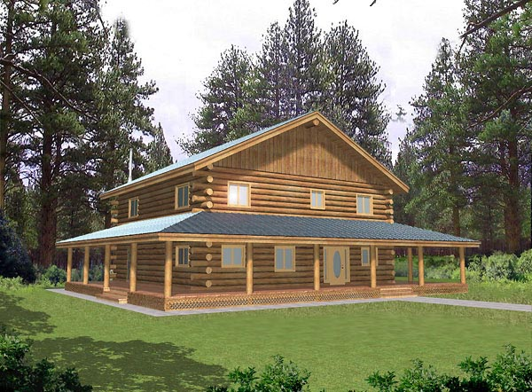 Log House Plan 87018 Elevation
