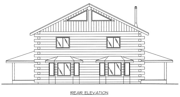 Log House Plan 87018 Rear Elevation