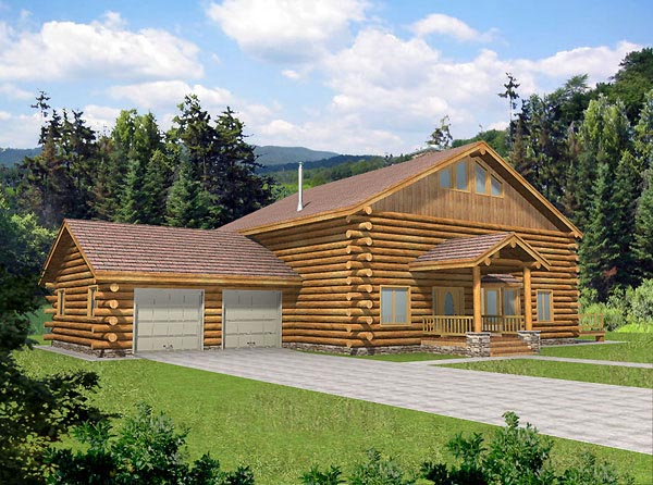 Log House Plan 87019 Elevation