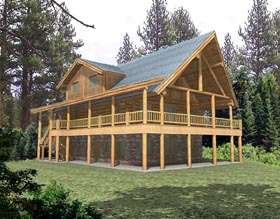 Log House Plan 87020 Elevation