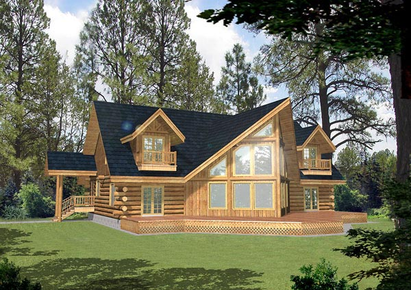 Contemporary Log House Plan 87021 Elevation