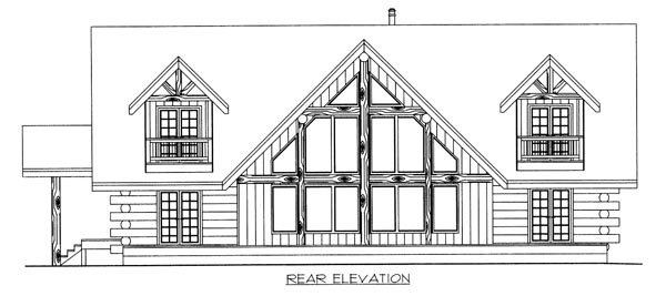 Contemporary Log House Plan 87021 Rear Elevation
