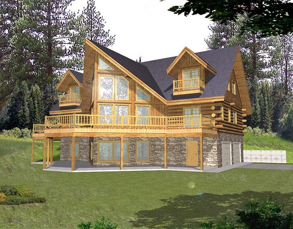 Contemporary Log House Plan 87022 Elevation