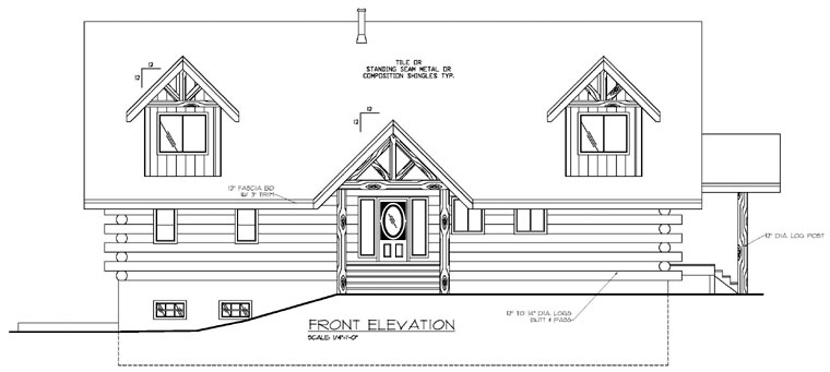Contemporary Log House Plan 87022 Rear Elevation
