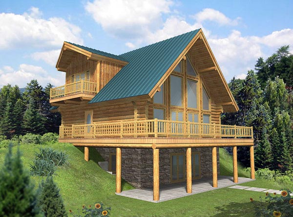 House Plan 87023 | Contemporary Log Style Plan with 2057 Sq Ft, 3 Bedrooms, 2.5 Bathrooms Elevation