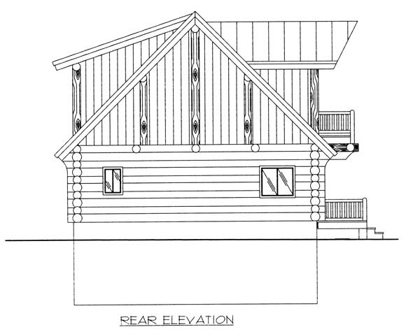 House Plan 87023 | Contemporary Log Style Plan with 2057 Sq Ft, 3 Bedrooms, 2.5 Bathrooms Rear Elevation