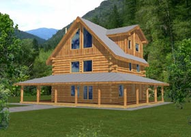 House Plan 87024 | Contemporary Log Style Plan with 2042 Sq Ft, 4 Bedrooms, 2.5 Bathrooms Elevation