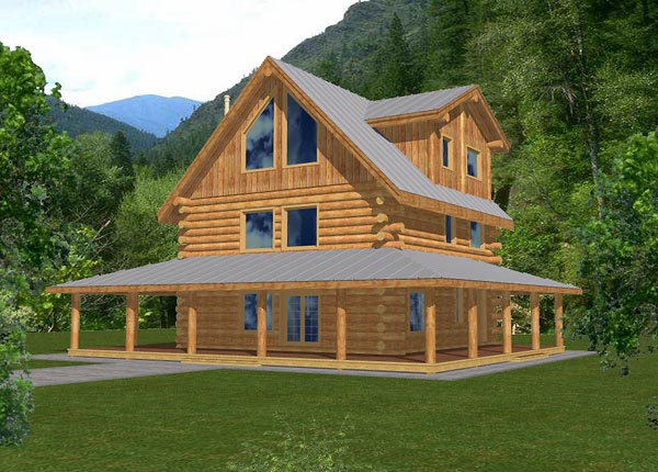 Contemporary Log House Plan 87024 Elevation