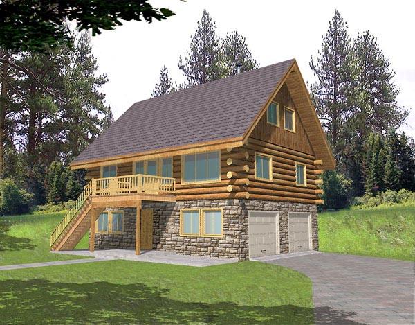 Log House Plan 87025 Elevation