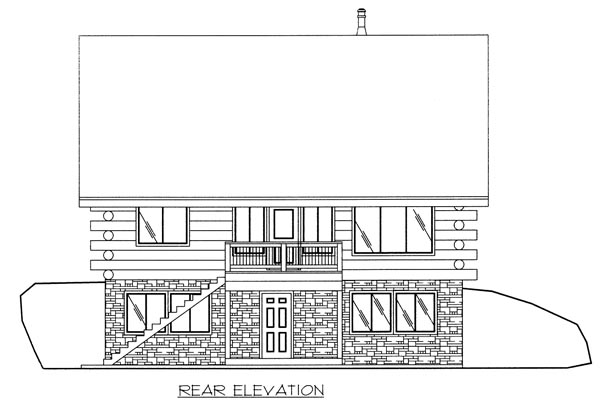 Log House Plan 87025 Rear Elevation