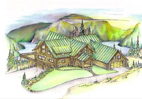 Contemporary Log House Plan 87026 Elevation