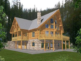 House Plan 87027 | Contemporary Log Style Plan with 3725 Sq Ft, 4 Bedrooms, 3 Bathrooms, 1 Car Garage Elevation