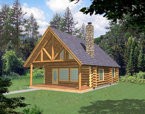 Log House Plan 87028 Elevation