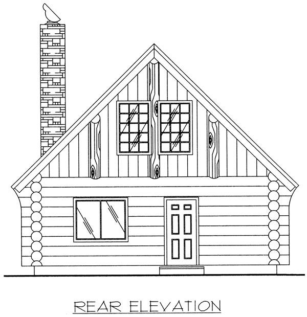 Log House Plan 87028 Rear Elevation