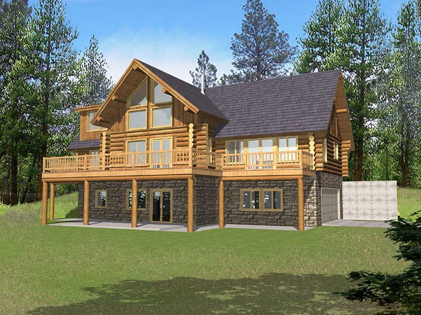 Contemporary Log House Plan 87029 Elevation