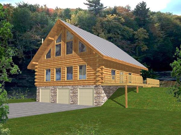 Contemporary Log House Plan 87030 Elevation