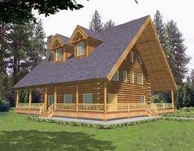 Log House Plan 87031 Elevation
