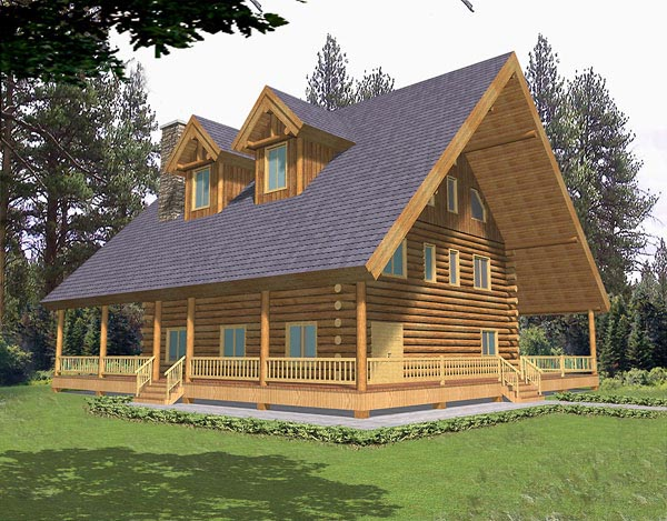 Log House Plan 87031 Elevation