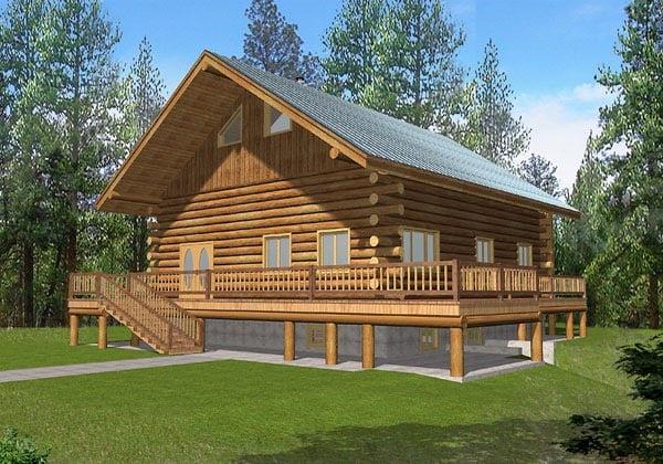 Log House Plan 87033 Elevation