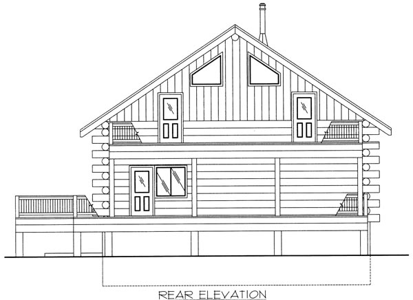 Log House Plan 87033 with 2 Beds, 3 Baths Rear Elevation