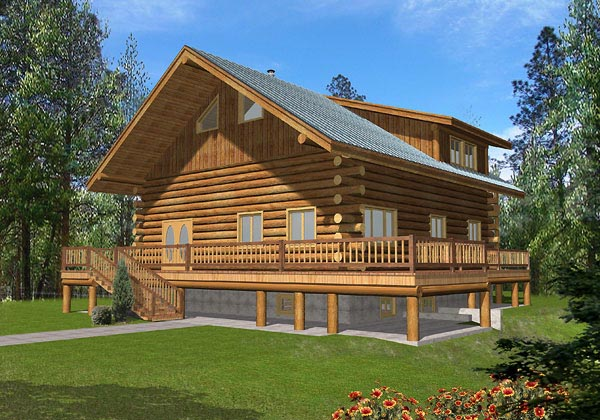 Log House Plan 87034 with 2 Beds, 3 Baths Elevation
