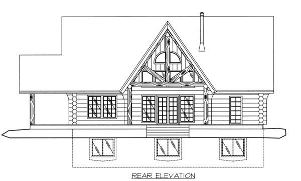 Log House Plan 87035 Rear Elevation