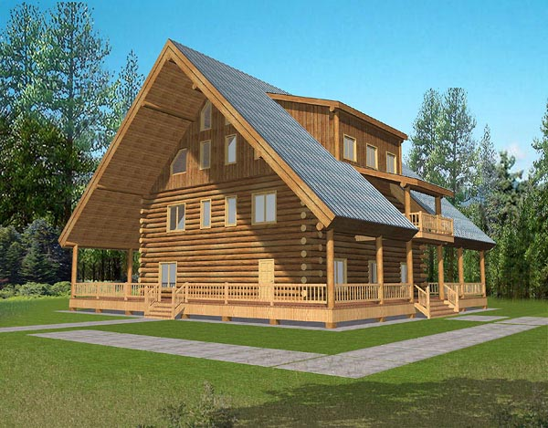 A-Frame Log House Plan 87037 Elevation