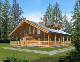 Log House Plan 87038 with 1 Beds, 1 Baths Elevation