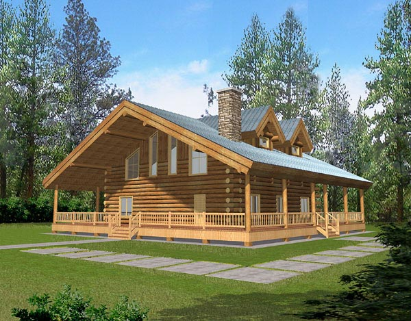 Log House Plan 87038 Elevation