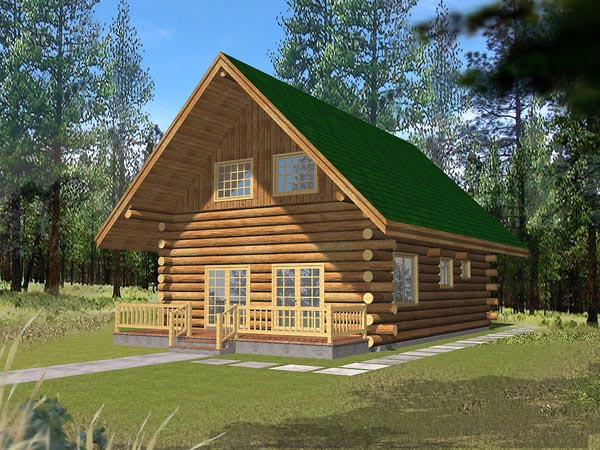 Log House Plan 87039 Elevation