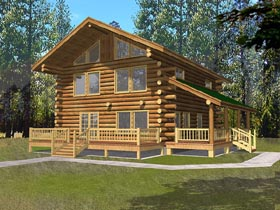 Contemporary , Log House Plan 87042 with 2 Beds, 2 Baths Elevation