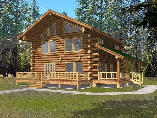 Contemporary Log House Plan 87042 Elevation