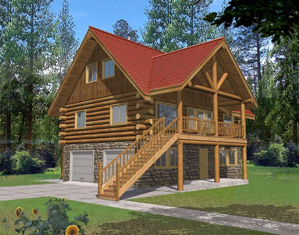 House Plan 87043 | Log Style Plan with 1485 Sq Ft, 2 Bedrooms, 2 Bathrooms, 1 Car Garage Elevation