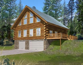 House Plan 87044 | Log Style Plan with 2368 Sq Ft, 3 Bedrooms, 2.5 Bathrooms, 2 Car Garage Elevation