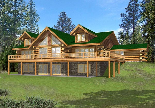 Contemporary , Log House Plan 87045 with 4 Beds, 5 Baths Elevation