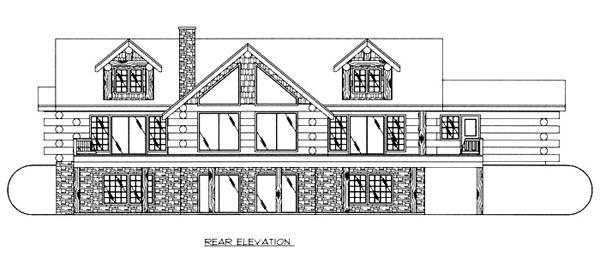Contemporary , Log House Plan 87045 with 4 Beds, 5 Baths Rear Elevation