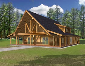 Log House Plan 87046 with 1 Beds, 2.5 Baths Elevation