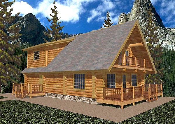 Log House Plan 87047 Elevation