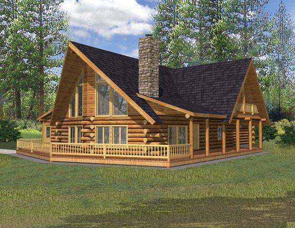 Cabin Log House Plan 87048 Elevation