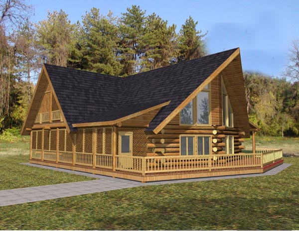 Log House Plan 87049 Elevation