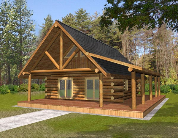 Log House Plan 87050 Elevation